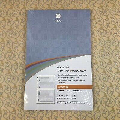 Levenger Refill Contacts For The Circa Smartplanner Junior Size Brand New