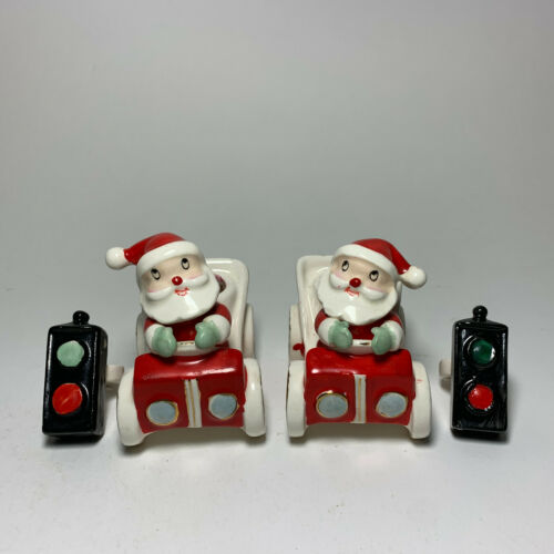 1959 Howard Holt Santa in Car Candle Holders with Rare Stoplight Huggers
