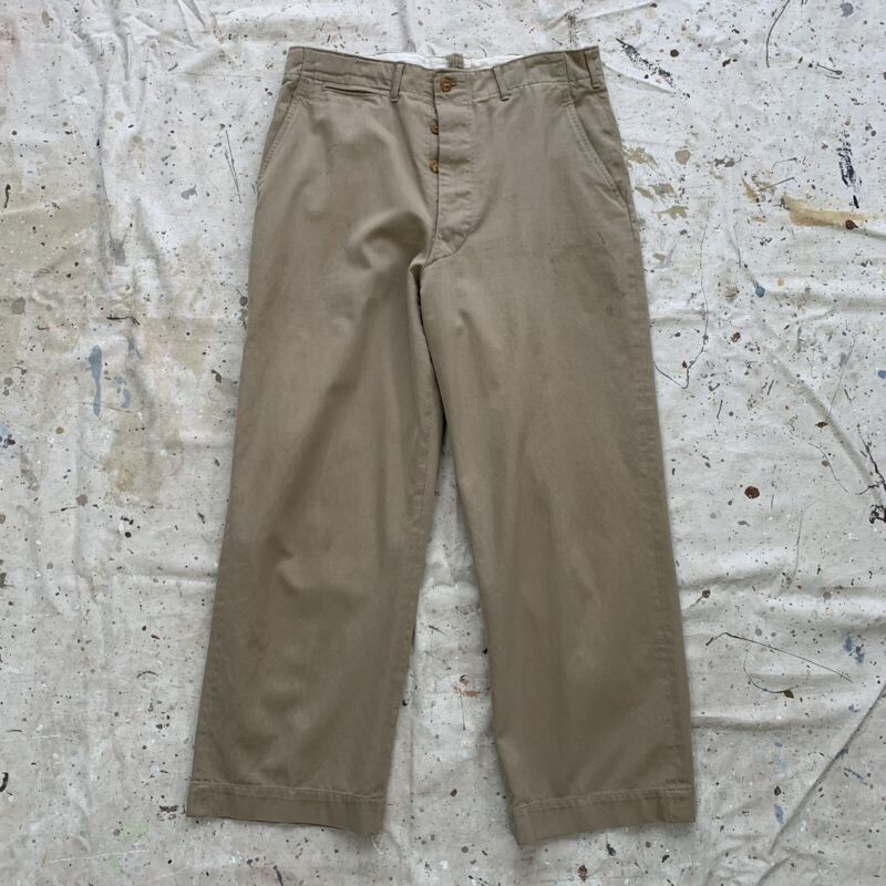 Vintage 1940s WW2 Khaki Trousers Mens 34x27