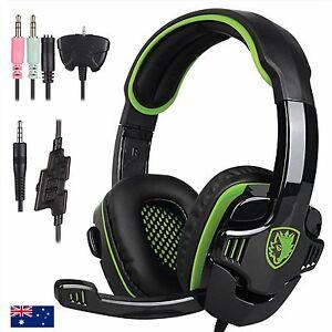 AU Sades 3.5mm Gaming Headset Headband Headphone PC with Mic Green