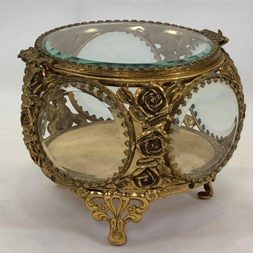 Vtg Gold Plated?? Ormolu Casket Jewelry Trinket Box Roses Beveled Glass Vanity