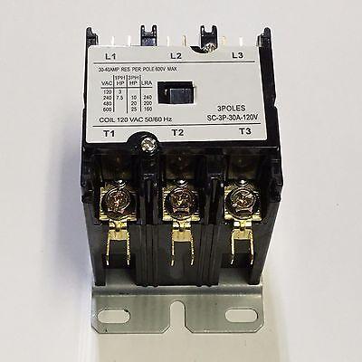 Contactor Definite Purpose 30a 3 Pole 120v Ac Coil Fla 40 Amp Fs