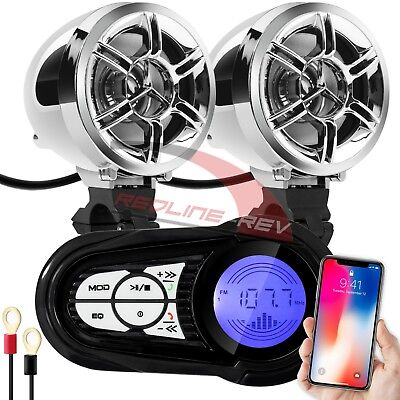 - Waterproof Bluetooth Wireless Motorcycle Stereo Speakers Audio System USB Radio