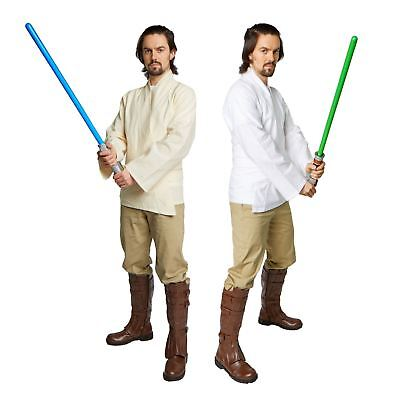 Adult Star Wars Jedi Luke Skywalker Obi Wan Costume Tunic Shirt Belt White Beige - Jedi Costumes Adults
