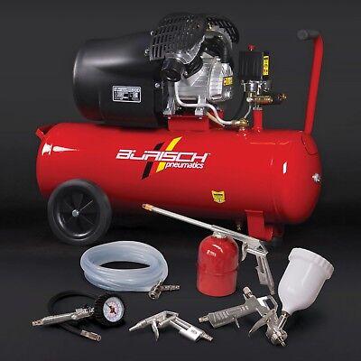 Air Compressor 50L + 5Pc Accessory kit 3HP 10Bar V-Twin Burisch Portable
