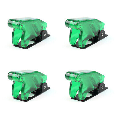 4pcs Toggle Switch Boot Plastic Safety Flip Cover Cap 12mm Clear Green Ua