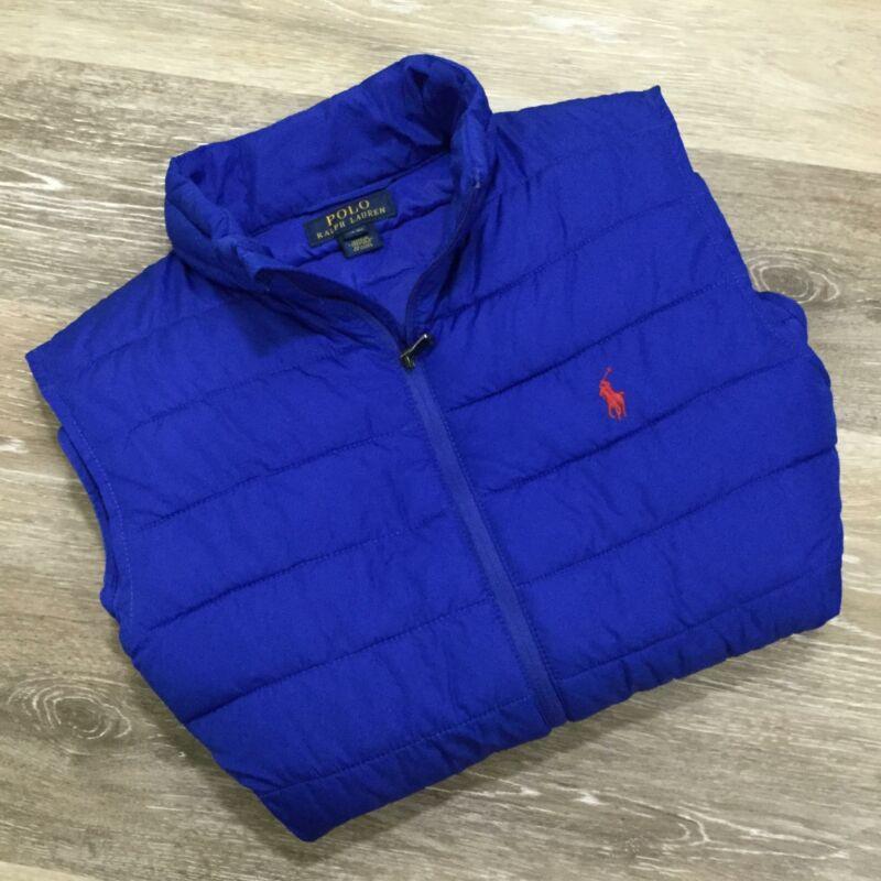 POLO RALPH LAUREN Full Zip Up Blue Quilted Puffer Jacket Vest Boy