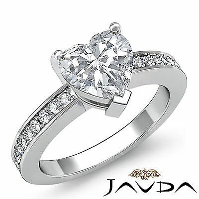 Micro Pave Heart Cut Natural Diamond Engagement Ring GIA Certified H SI1 1.25Ct