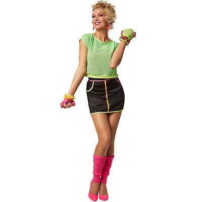 Neonfarbene Kostüme (Frauenkostüm 80er Jahre bunt Neonfarben Netzshirt 1980s Stulpen Karneval Kostüm)