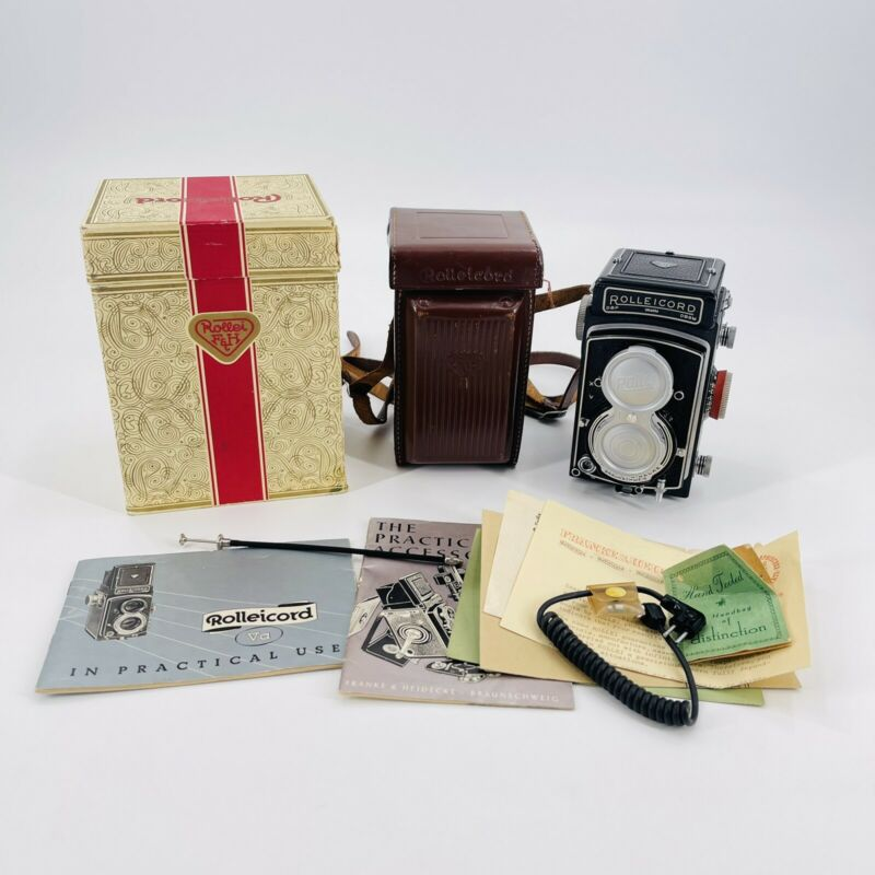 Rollei Rolleicord Vb 6x6 TLR Camera w/ Xenar 75mm f3.5 & Case Box Instructions