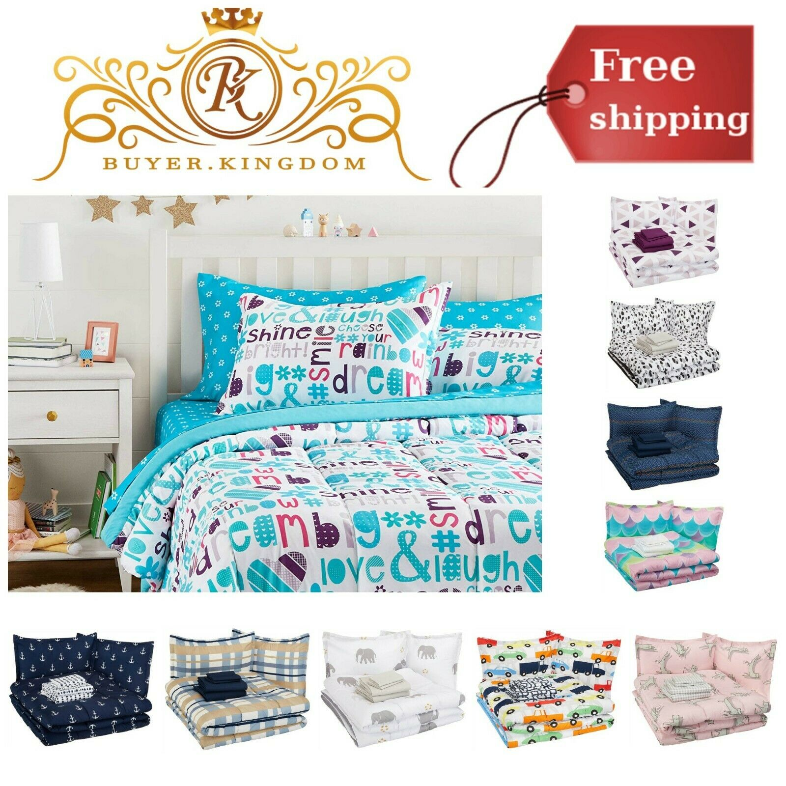Kids Bed In A Bag Bedding Full Queen Set With Comforter Flat
