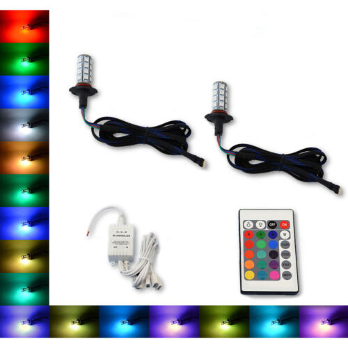 9005 27 SMD RGB Multi-Color Changing Shift Led Fog DRL Light Bulb IR Pair