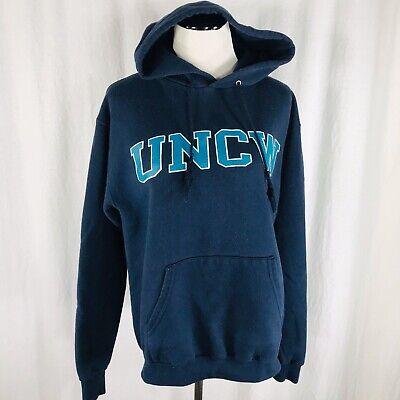 Vintage 90s UNCW Wilmington Blue Champion Hoodie Sweatshirt Size Medium
