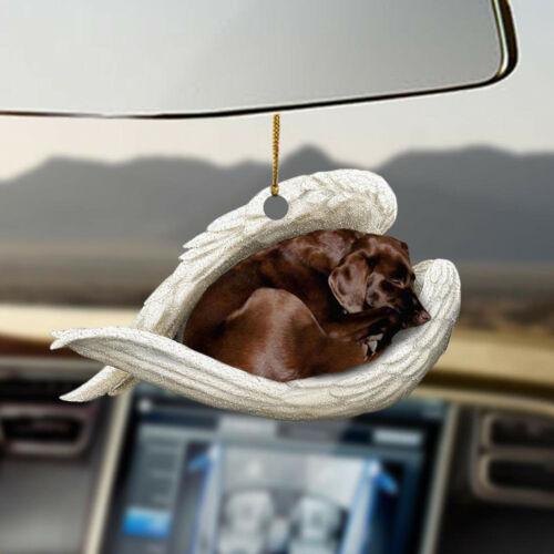 Chocolate labrador retriever sleeping angel, lovers dog moms ornament