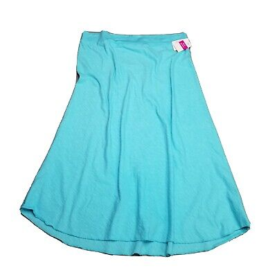 Fresh produce Large a line midi skirt women's teal blue aqua marine knit nwt
