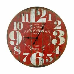 Round Red Decorative Wall Clock with Big Numbers and Distressed Old Town face...
