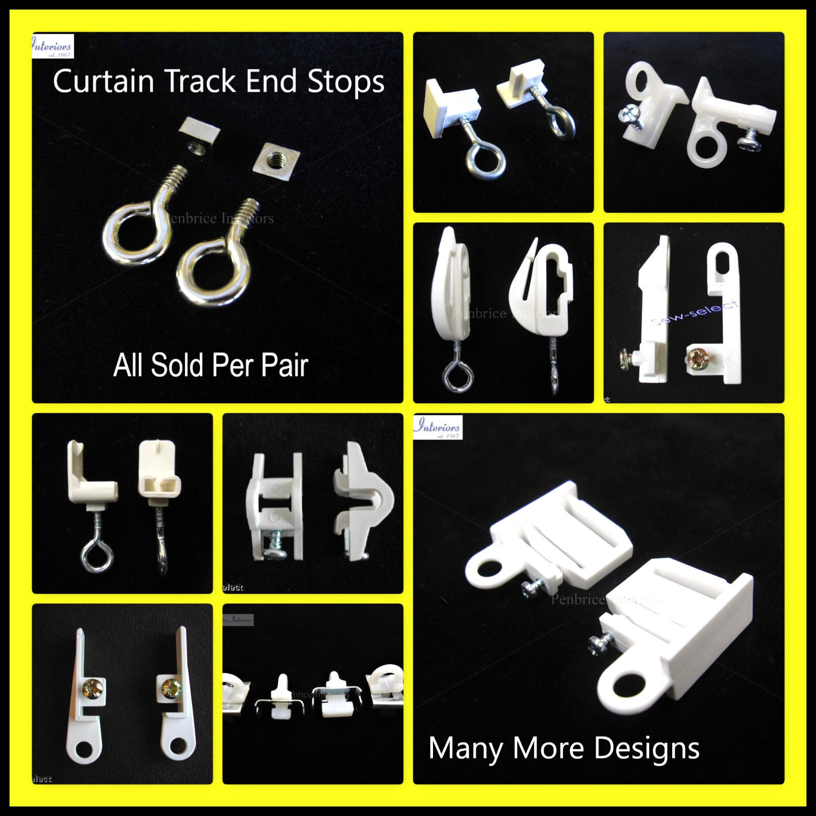 Curtain Track End Stops Rail Ends Stoppers Hooks Eye