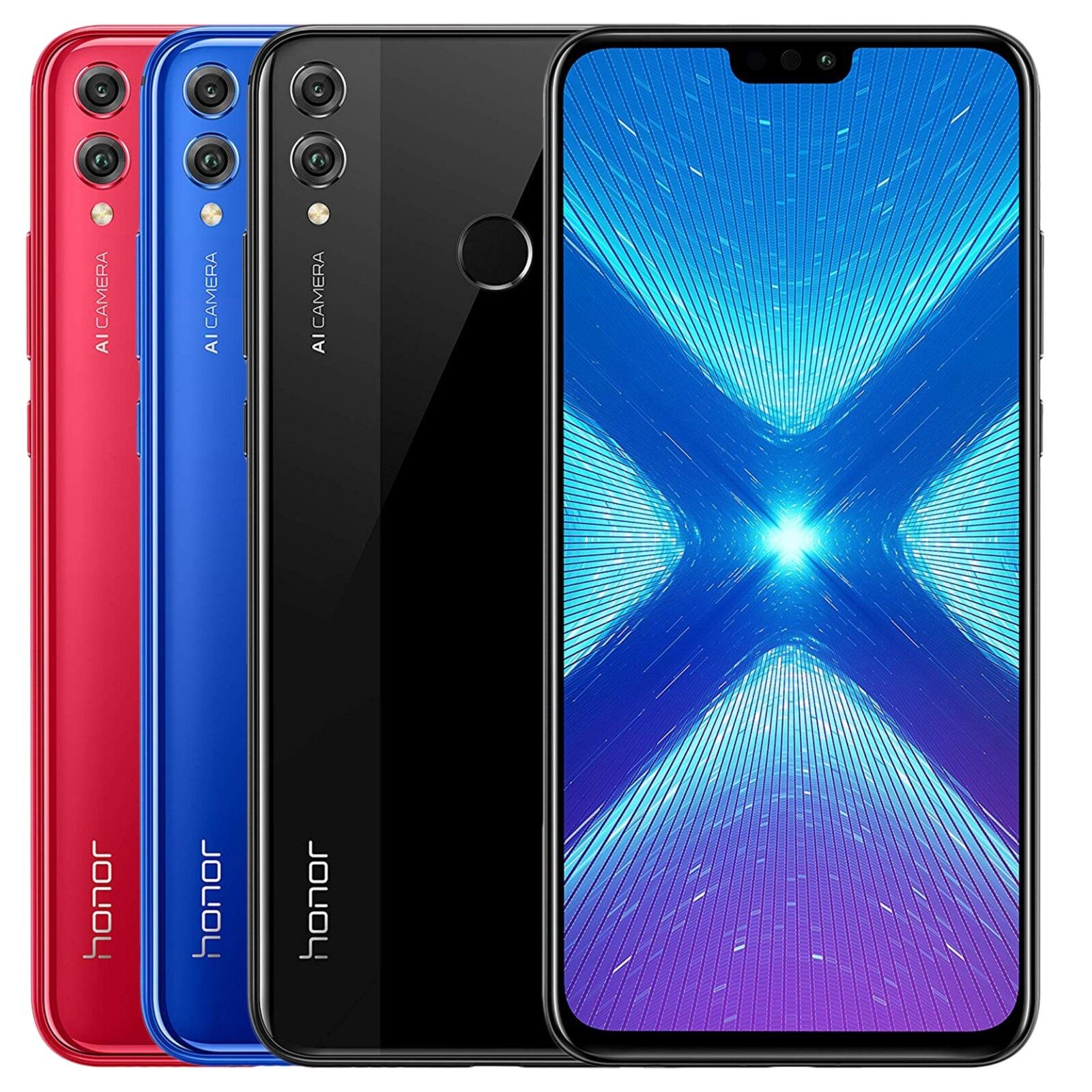 "Huawei Honor 8X JSN-L23 64GB (FACTORY UNLOCKED) 6.5"" Black Blue Red - Global"