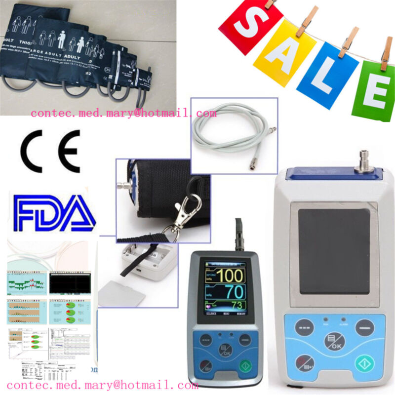 24HOUR NIBP Monitor Ambulatory Blood Pressure Monitor Holter + SOFTWARE ABPM 50