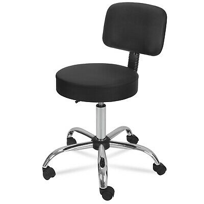 Medical Spa - Adjustable Black Rolling Medical Spa Salon Stool With Back Cushion