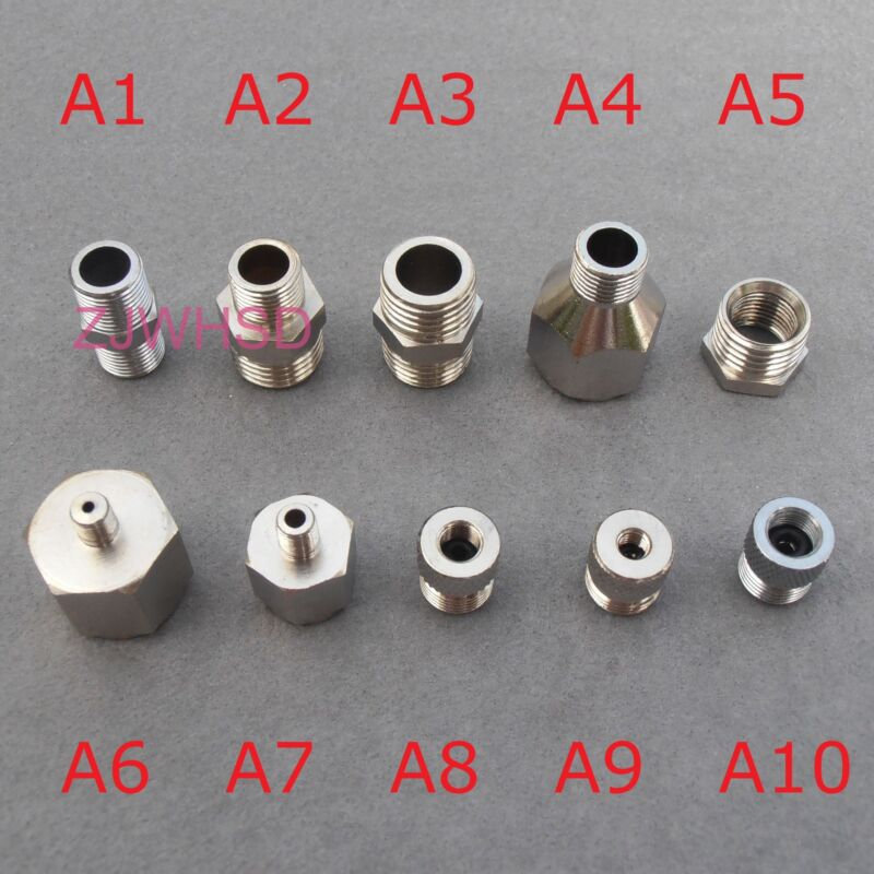 10PCs Adaptor Adapter Fitting Connector Kit Set For Compressor Airbrush Hose