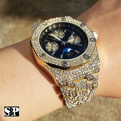 Mens Gold Plated Iced Out Luxury Migos Rappers Metal Band Dress Clubbing Watch