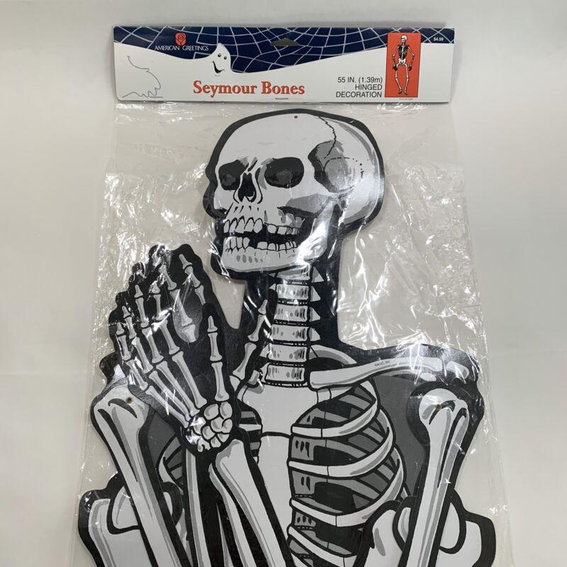 "Vintage Large Jointed Halloween Skeleton 55"" Paper Wall Decor American Greetings"