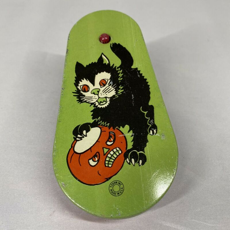 Vintage Black Cat Halloween Tin Ratchet Noisemaker by T. Cohn Inc, Made in USA