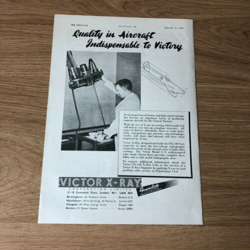"""(STA71) Advert 11x8"""" Victor X-Ray Corporation Limited, Inspection Of Castings"""