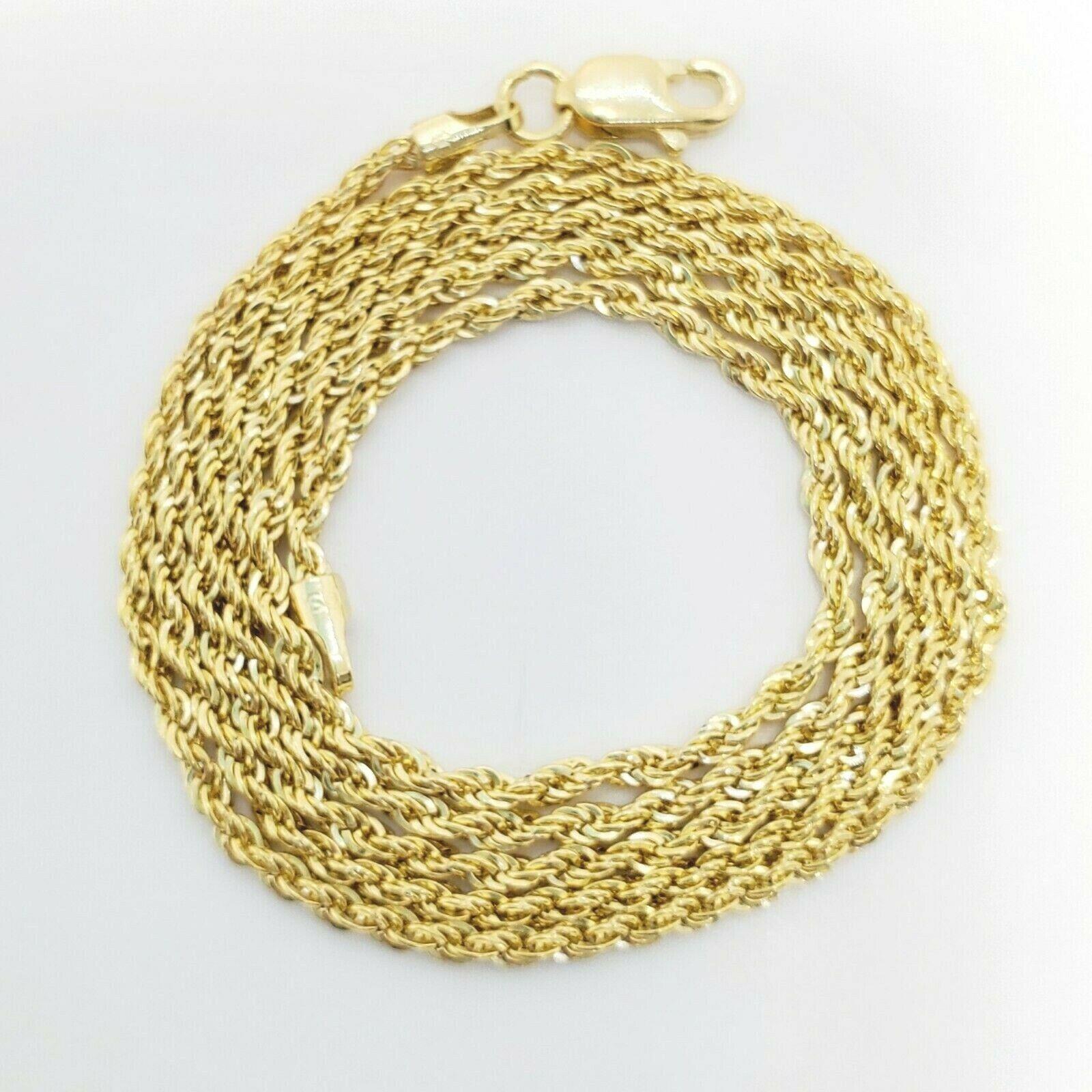 "10K Yellow Gold 1.5mm Diamond Cut Rope Chain Pendant Necklace Mens Women 16""-26"" 2"
