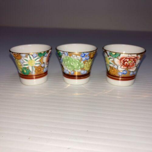 Set of 3-Tiny Ceramic Sake Cups Tea Shot Glasses Hand Painted Gold Rim