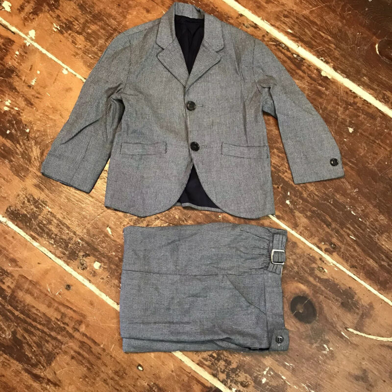 Vintage 60s Gray Wool Gab Pinstripe Suit Toddler Boys 3T/4T Sears Honey Beau