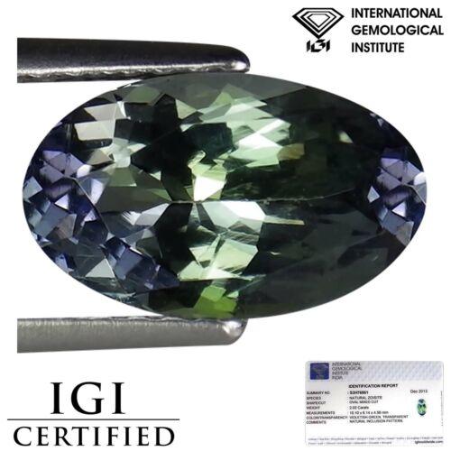 2.02 Ct IGI Certified AA Natural Tanzanite Gemstone Green Violet Oval Cut