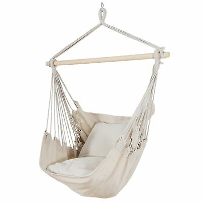 Beige Hammock Chair Swing Hanging Rope Net Chair Porch Patio with 2 Cushions