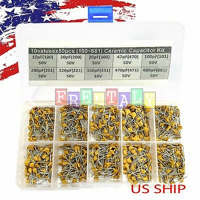 10 Types X 50 10pf680pf 100681 Monolithic Ceramic Capacitor Assorted Kit Box