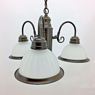3 light Kitchen CHANDELIER, Frosted Glass, NIB, Oil Rubbed Bronze, hanging, orb