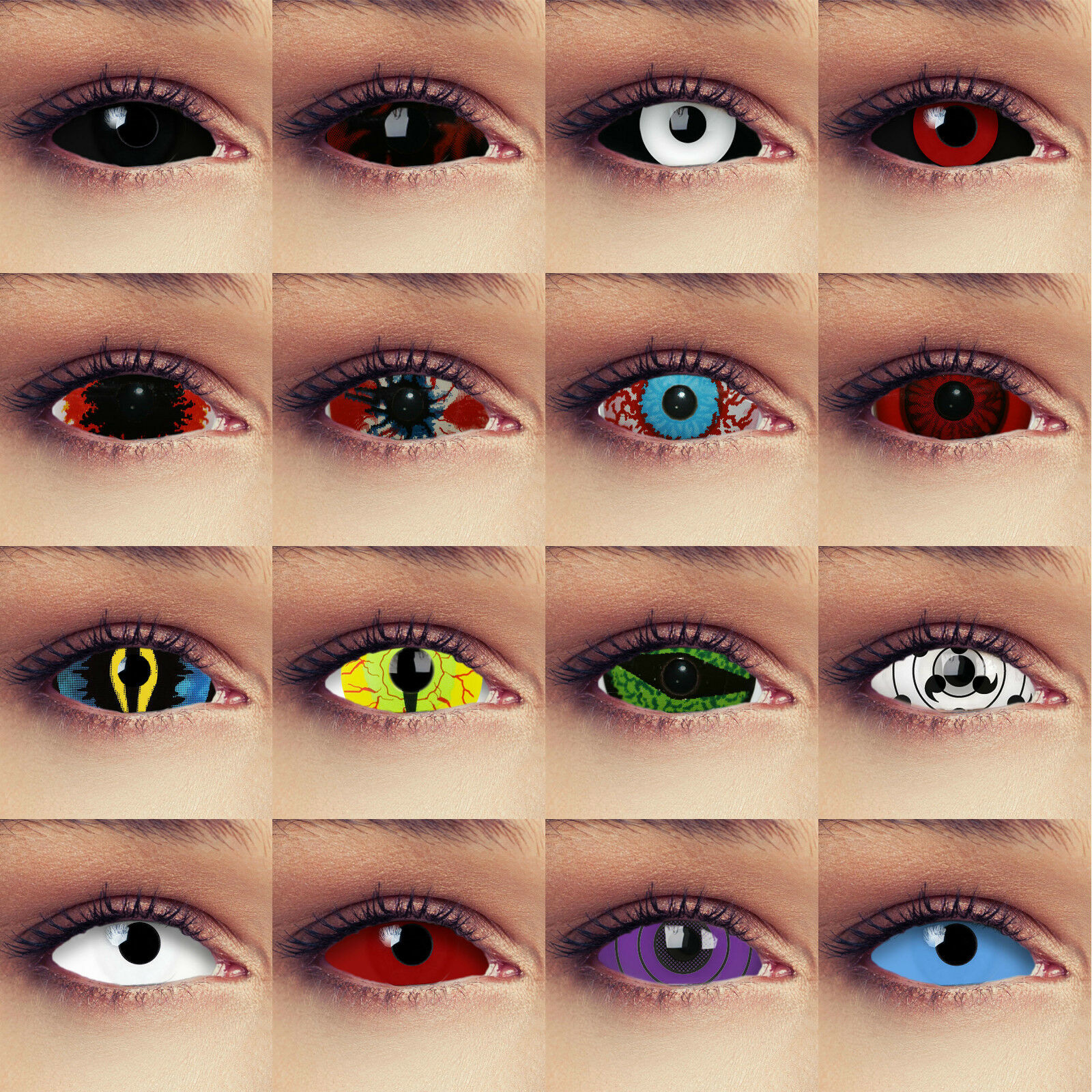 22mm Full sclera Kontaktlinsen in Rot weiß schwarz blau für Halloween Kostüm