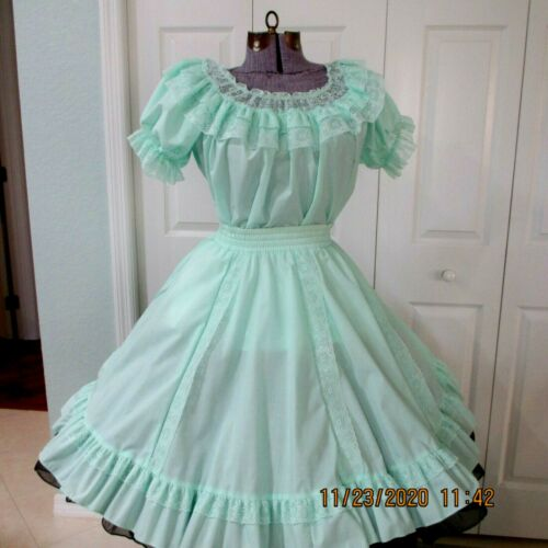 """SQUARE DANC SKIRT & BLOUSE,48"""" bust, waist 32 """"-42"""",22"""" LONG from  band-OX-2"""