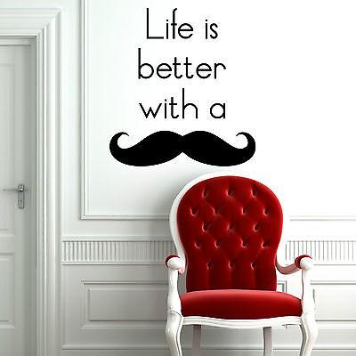 Leben Ist Besser mit Schnurrbart Wanddekoration Aufkleber Vinyl Küche Lounge