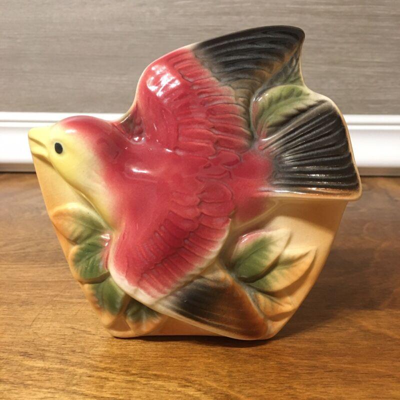 Royal Copley Bird Wall Pocket Vase Planter Vintage