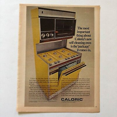 Caloric Self Cleaning Oven Broiler Yellow Vintage Photo Print Magazine Ad 1968