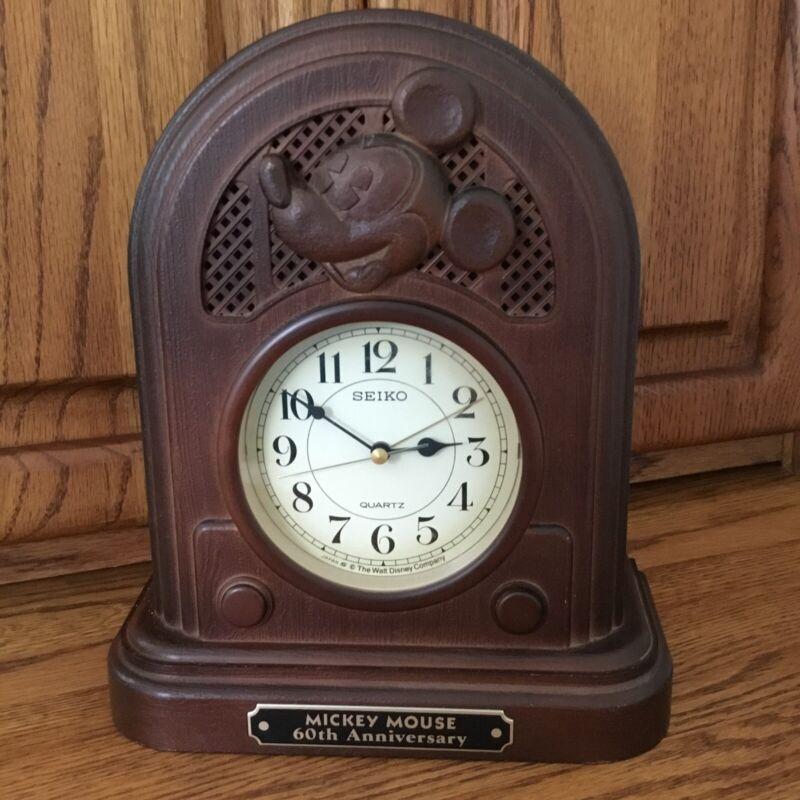 Seiko Quartz Clock Disney Mickey Mouse 60th Anniversary Vintage 1987 Original