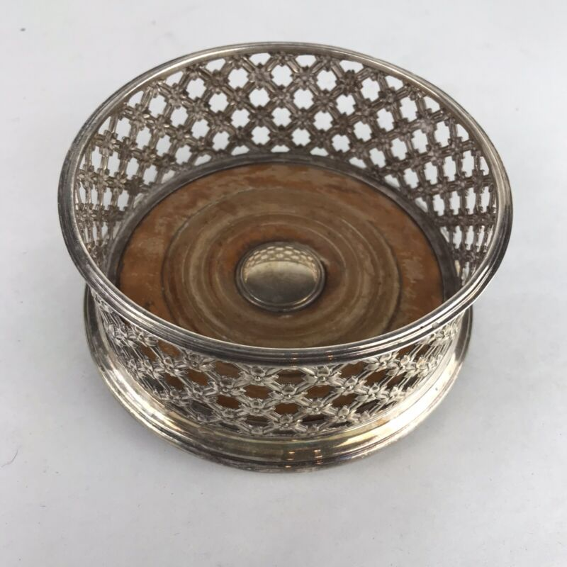 Georges  Antique Silver Plated Rectangular Wine Coaster With Wooden Base