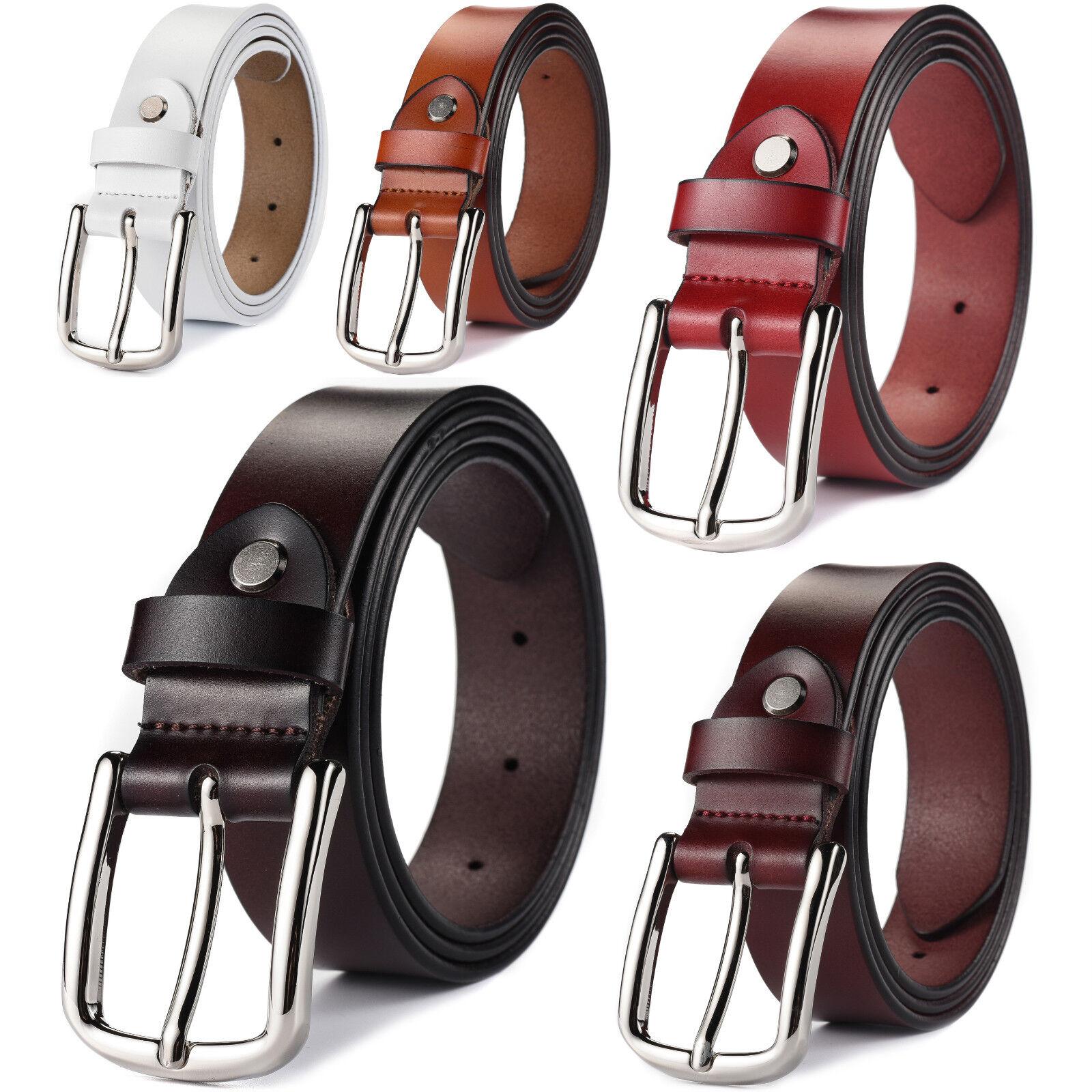 Women's Classic Metal Buckle Handcrafted Genuine Leather Belt Belts