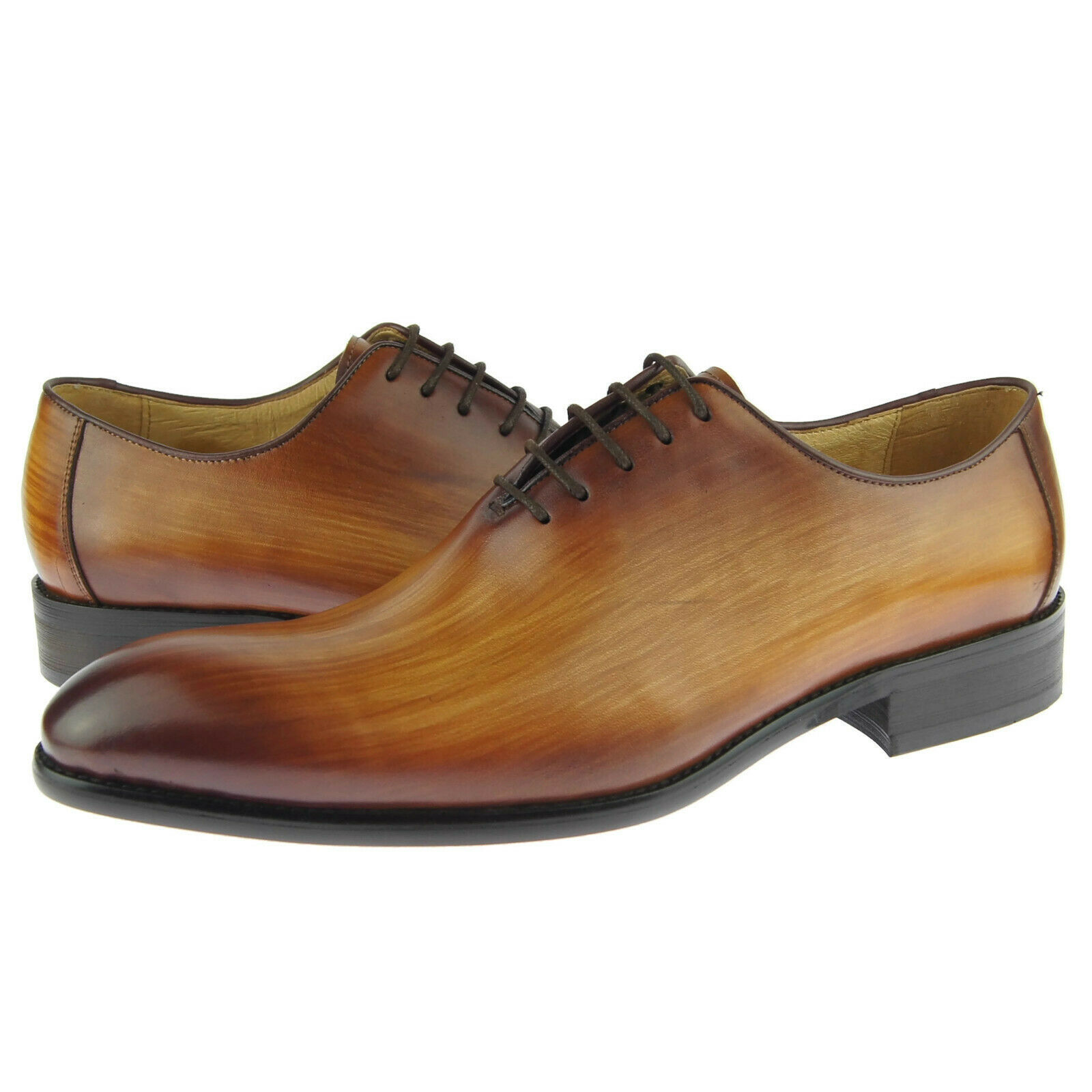 Carrucci Plain Toe Wholecut Oxford, Men's Dress Leather Shoes, Cognac