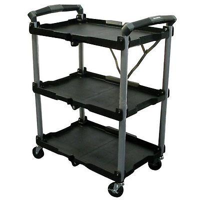 Folding Utility Cart Rolling On Wheels Storage 3 Shelf Shelves Organizer Plastic