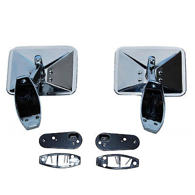 70 71 72 Chevy Truck Square Rectangle Chrome Outside Rearview Door Mirrors Pair ()