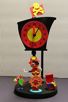 MOVEABLE CAPTIAN HOOK  NOVELTY CLOCK SOFT FOAM CHILDS ROOM USED WORKS BATTERY - Captian Hook