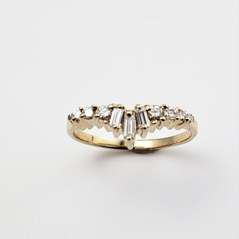 Vintage 14 Karat Yellow Gold and Diamond Ring Size 4.25 #8830