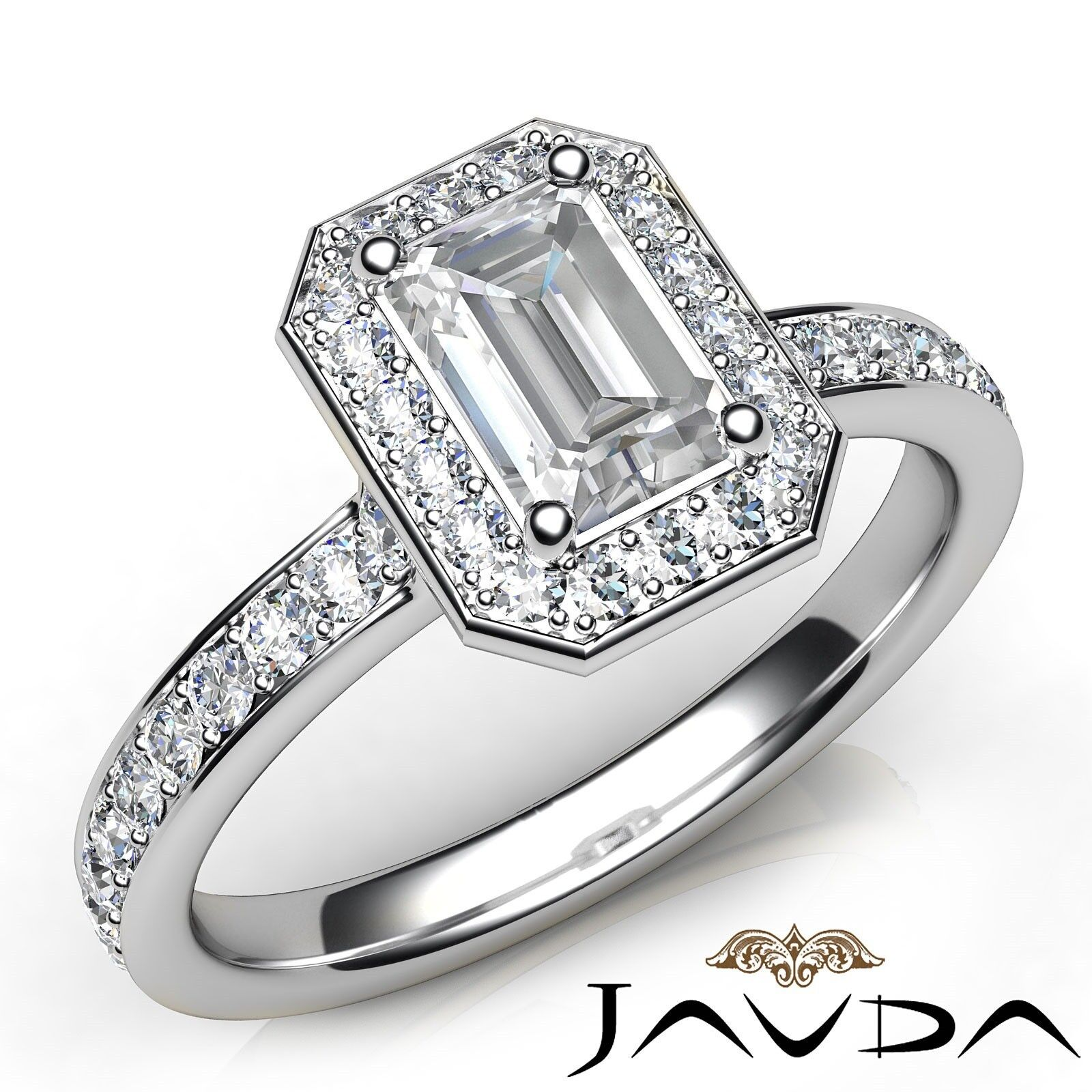 1.65Ctw Halo Pave Set Emerald Diamond Engagement Her Ring GIA F-VVS2 White Gold